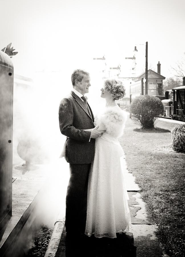 bluebell railway wedding photo - steam on platform