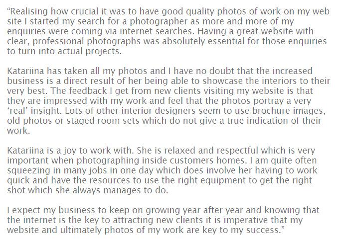 Interior Designer photography testimonial