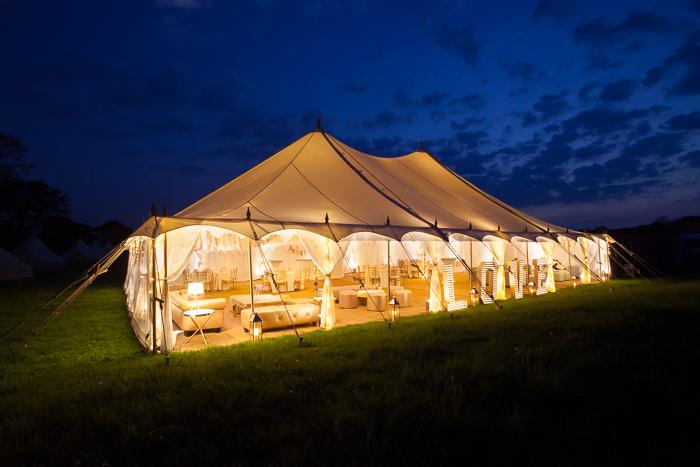 beautifully lit wedding marquee