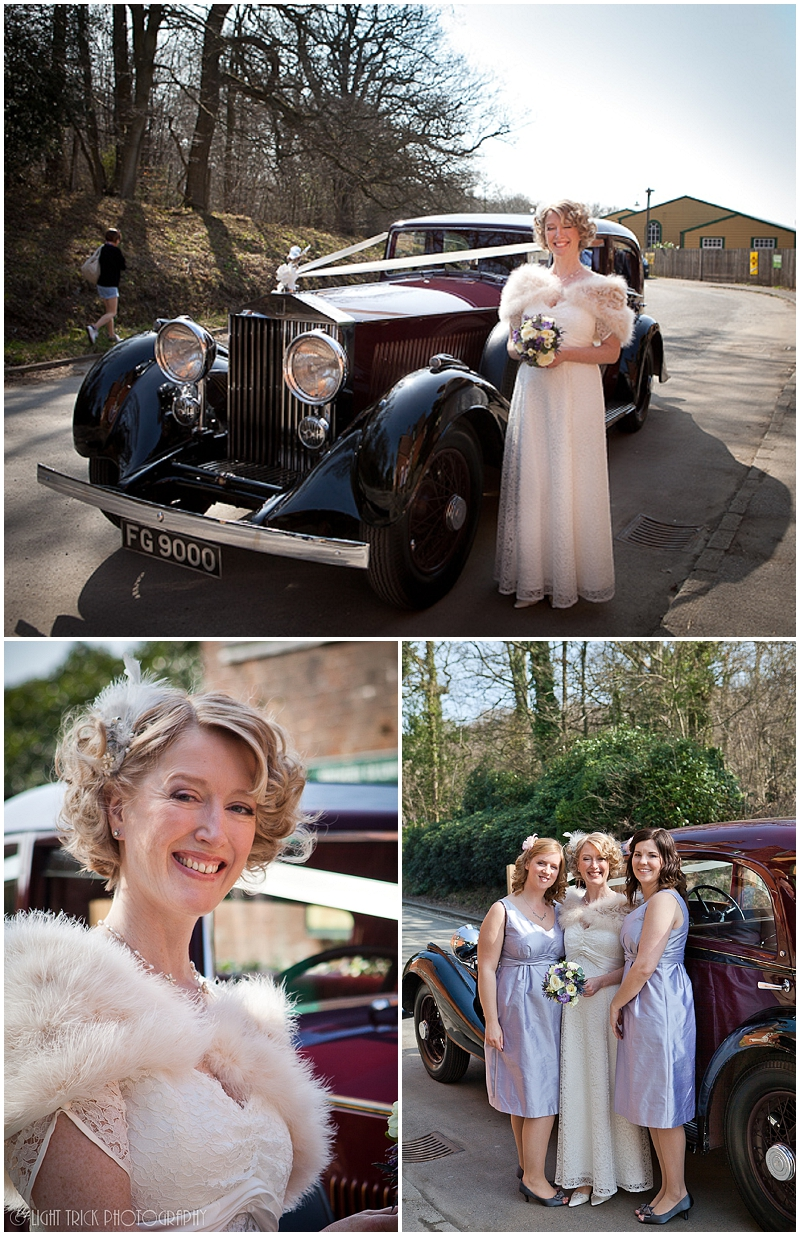 bride and bridesmaids posing in front of wedding car Rolls Royce