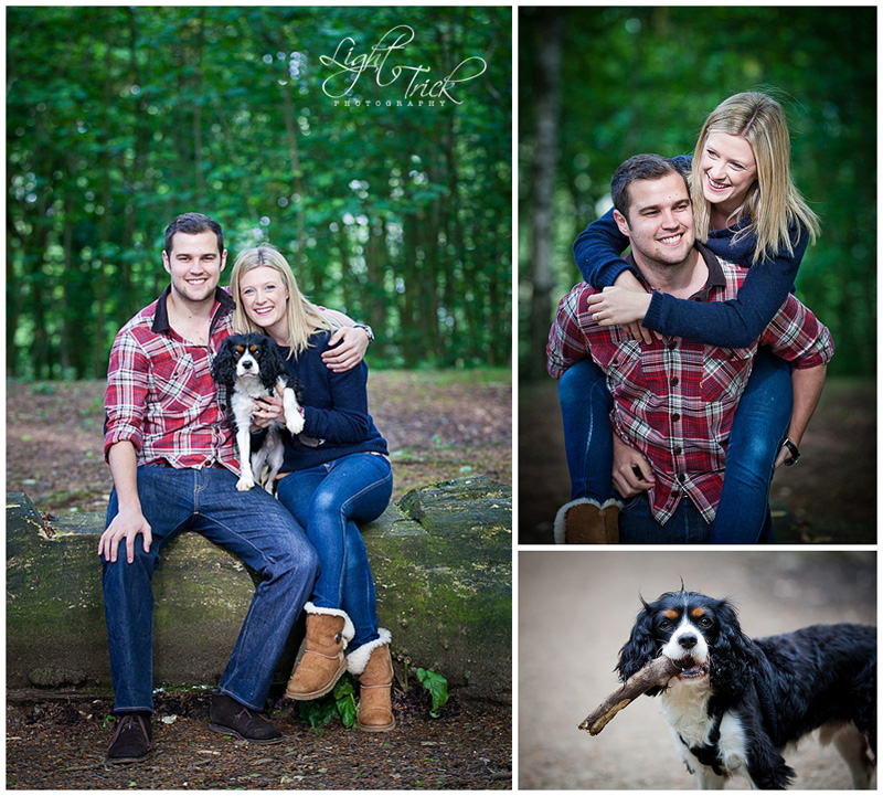 engaged couple posing with a dog