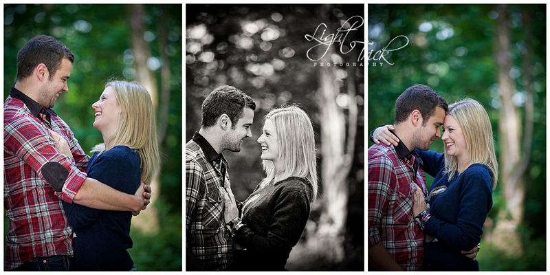 young couple posing during engagement shoot in the woods in Sussex