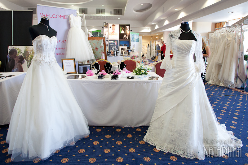 wedding dresses at a wedding fayre