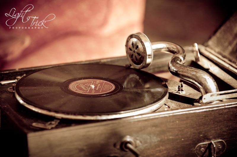 old gramophone, vintage styled shoot