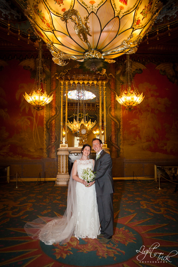 wedding couple in the Music Room, Royal Pavilion, Brighton