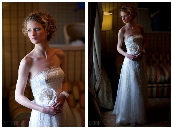 bride posing by window light
