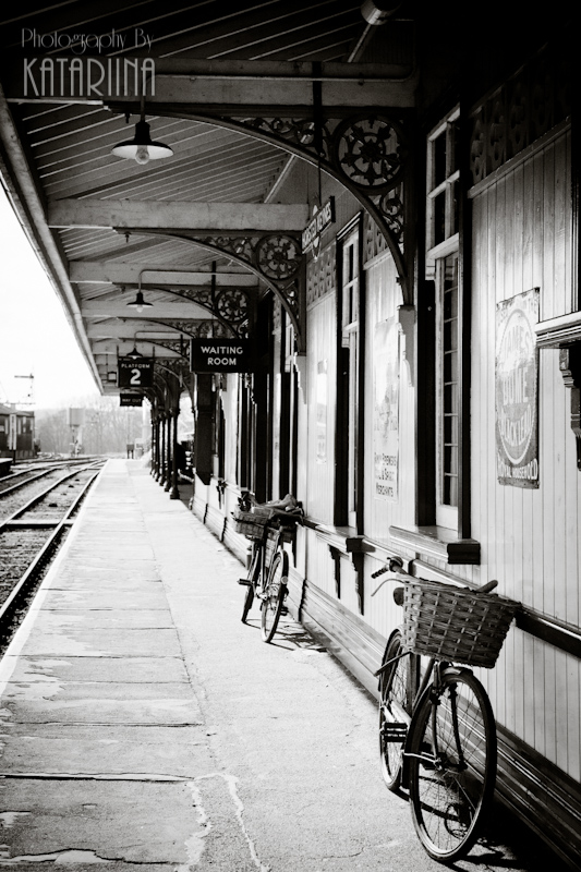 Bluebell Railway - Hersted Keynes Station - old bikes on platform