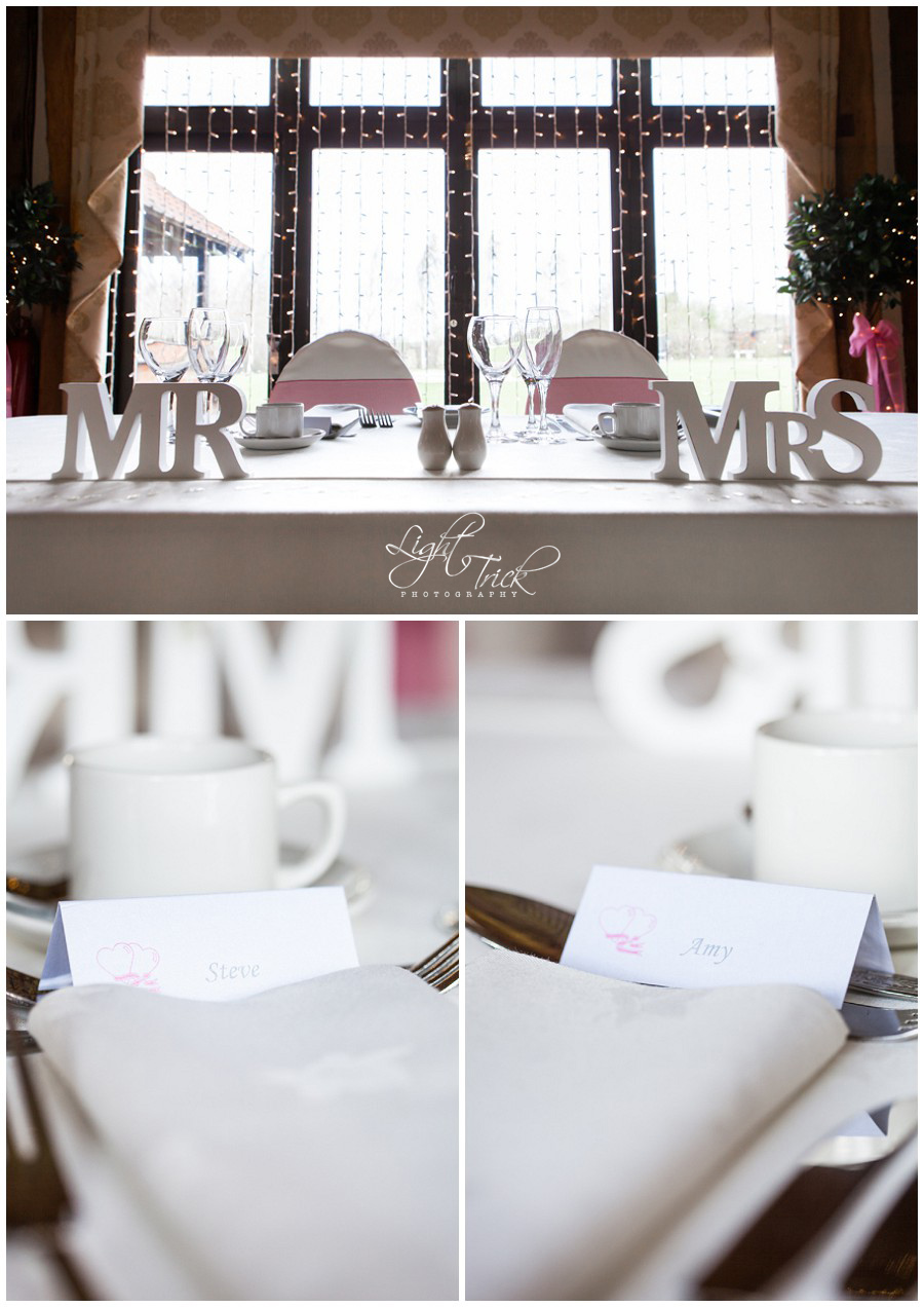 wedding top table decorations Mr & Mrs