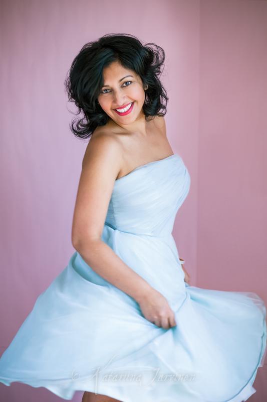 beautiful woman dancing in a dress