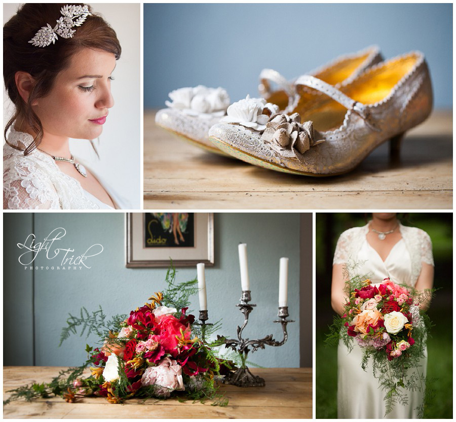 beautiful wedding shoes and bride's bouquet