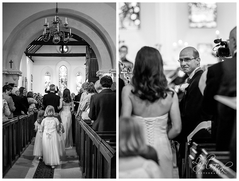 bride walking down the aisle at St Anne's Church in Lewes, East Sussex