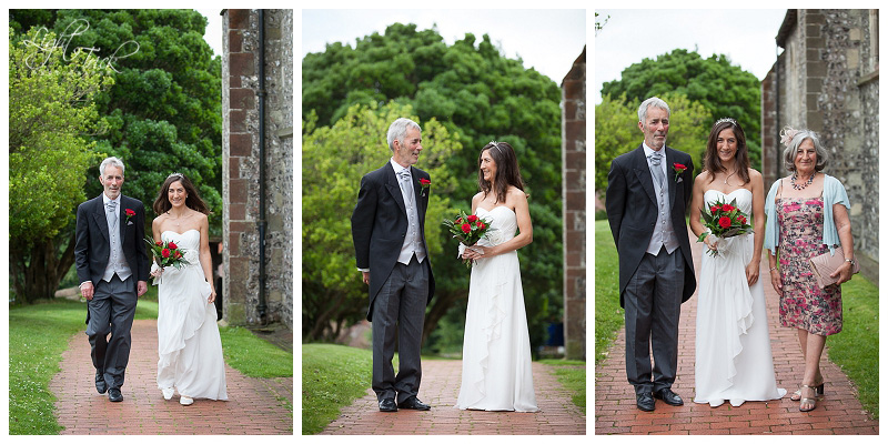bride with parents at St Anne's Church in Lewes, East Sussex