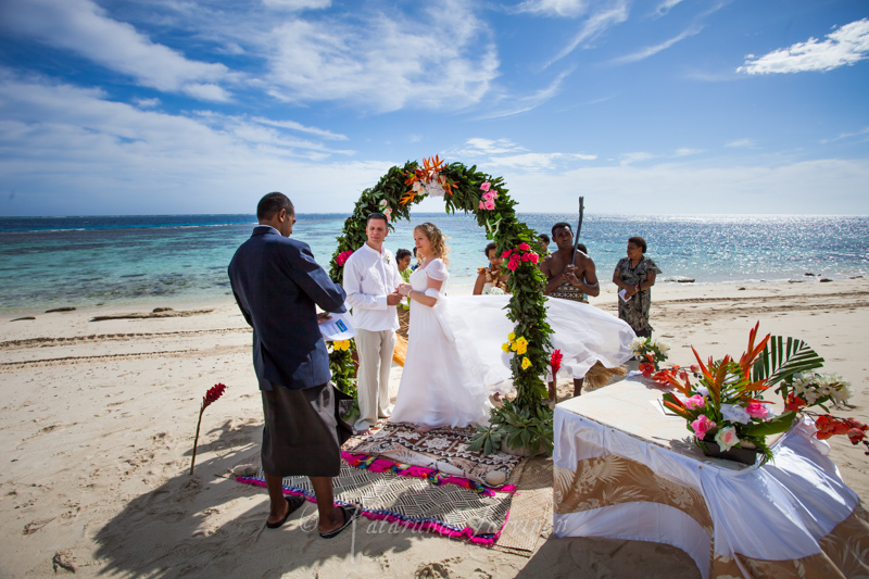 wedding on a beach on Fiji island