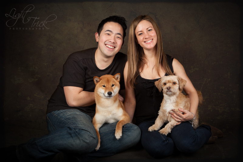 family portrait with dogs