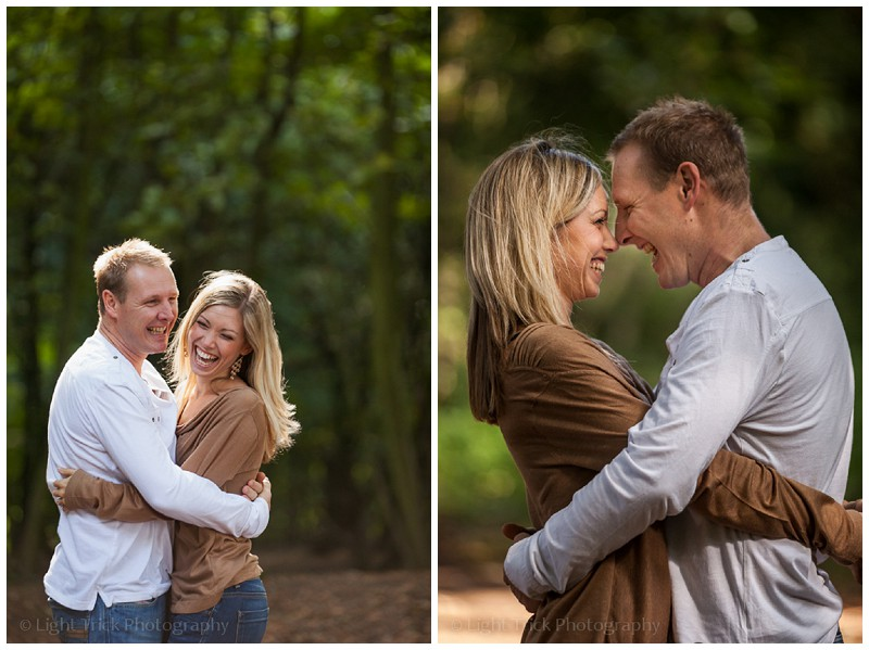 relaxed happy couple - engagement photo shoot in the woods