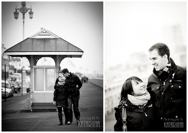 couple walking on Brighton seafront