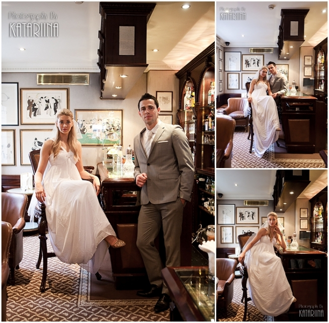 bride and groom pose in a bar
