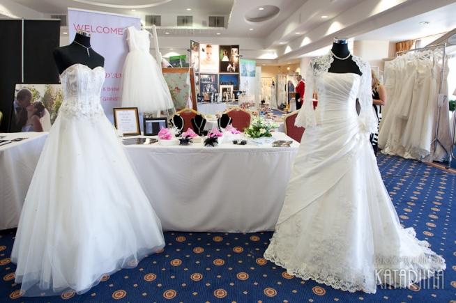 wedding dresses at a wedding fayre