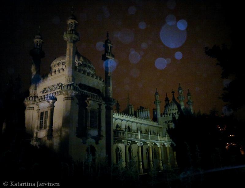 Royal Pavilion Brighton, mist, flash, mobile phone camera