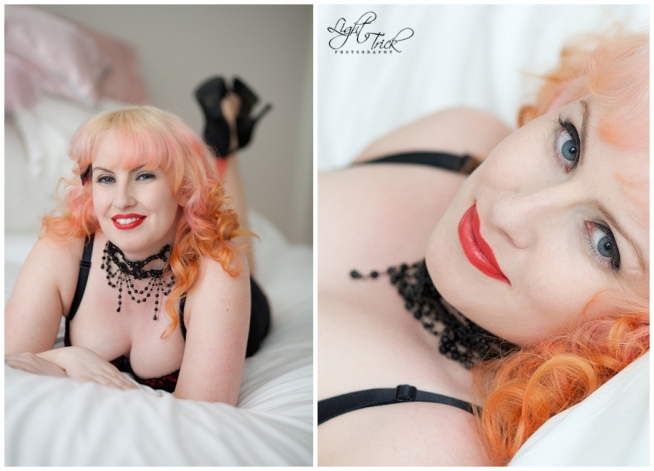 boudoir portrait of a beautiful redhead posing on bed