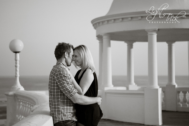 engagement shoot, black and white, Bexhill seafront