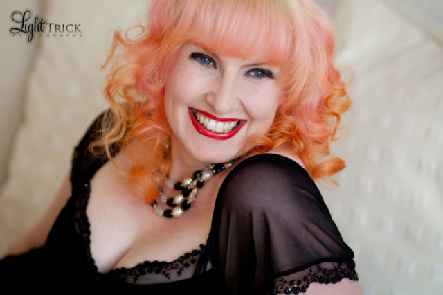 boudoir beauty portrait of a redhead