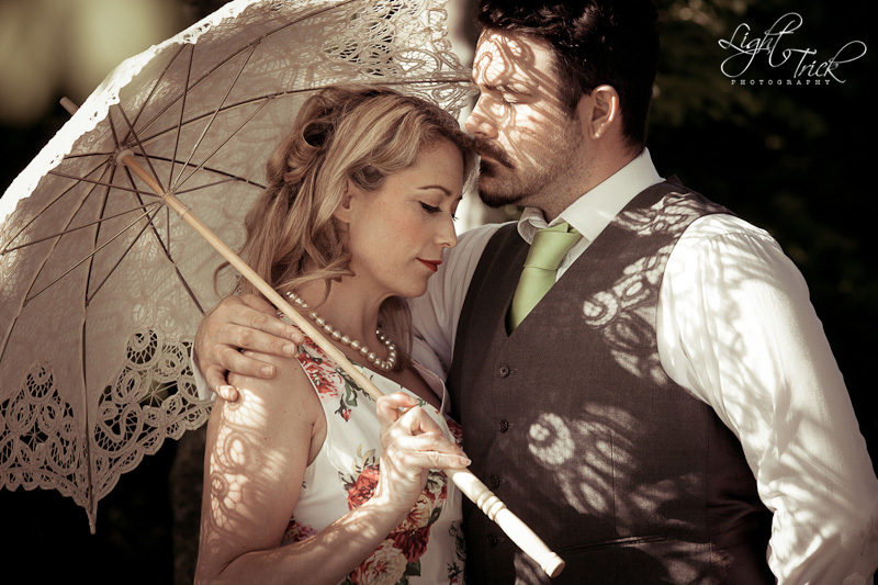vintage lace parasol umbrella, couple posing