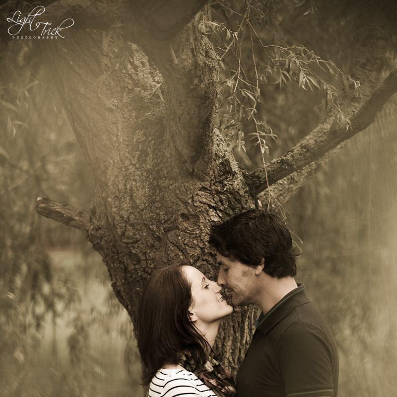 engaged couple under a weeping willow tree