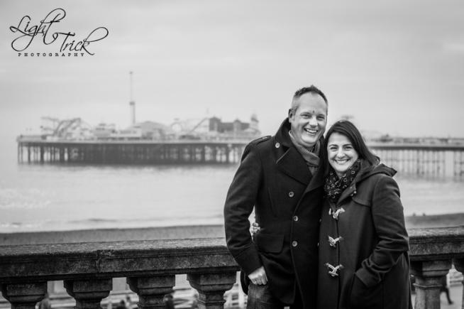 engagement shoot, Brighton, mixed race couple, Palace Pier