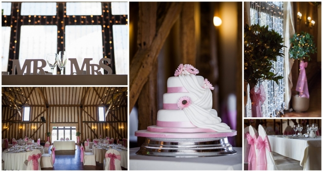 pink wedding cake and table decorations