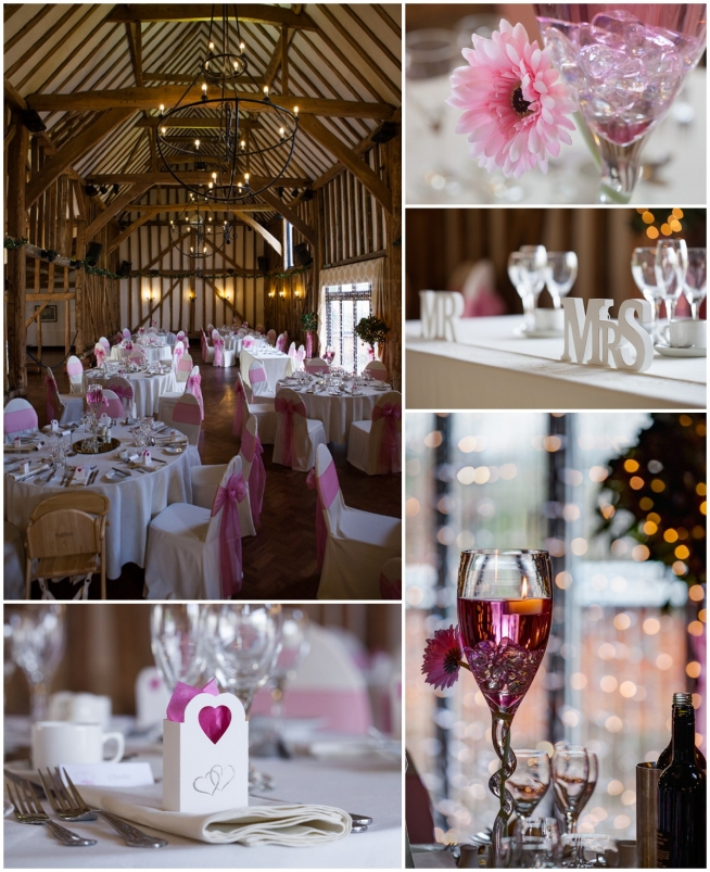 barn - pink wedding table decorations