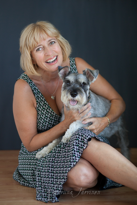 portrait of a woman with a dog (Schnauzer)