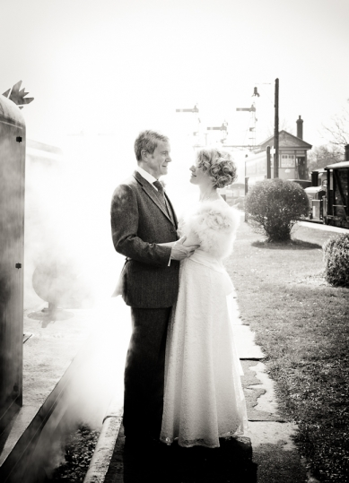 bluebell railway wedding photo - steam on platform