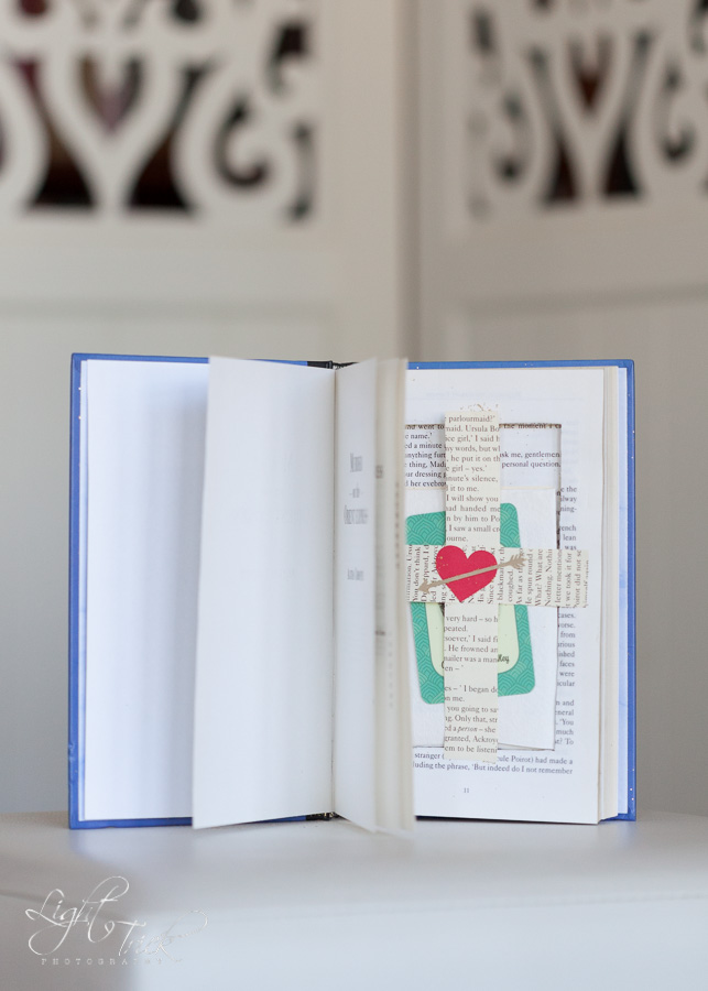 wedding invitation in a book
