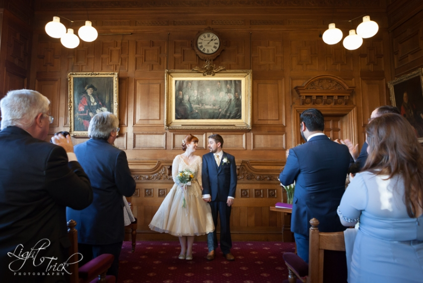 newlyweds in Council Chamber Eastbourne