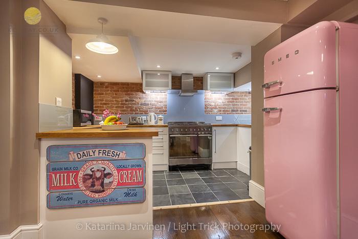 pink Smeg fridge in Brighton holiday property