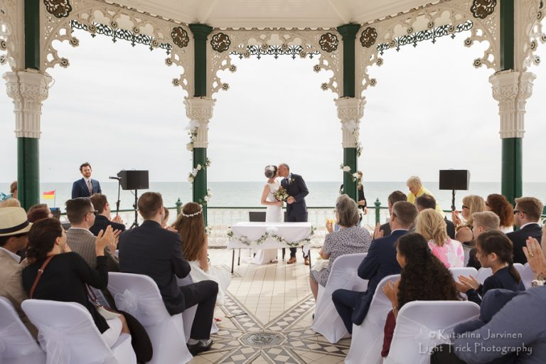 Brighton Bandstand wedding kiss