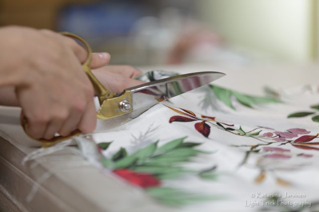 Cutting fabric - Brighton business photography