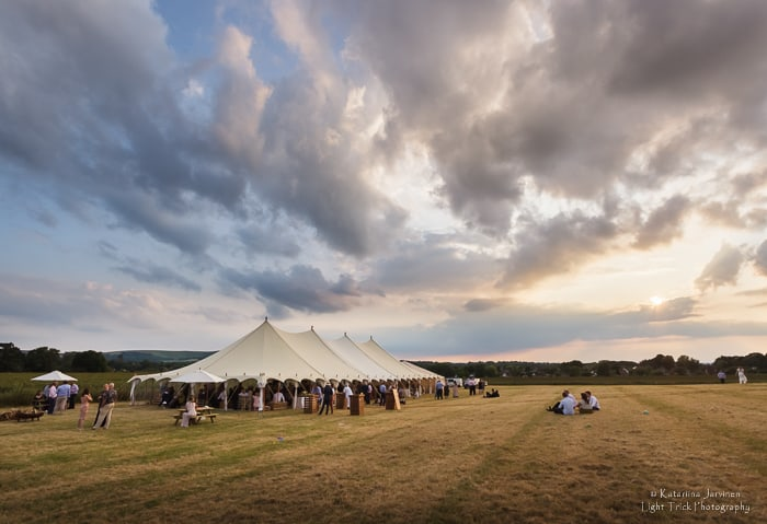 party marquee on a field in East Sussex